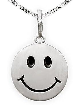 CLEVER SCHMUCK-SET Silberner Anhänger Smiley rund Ø 12 mm seidenmatt Augen und Mund schwarz lackiert und Kette...