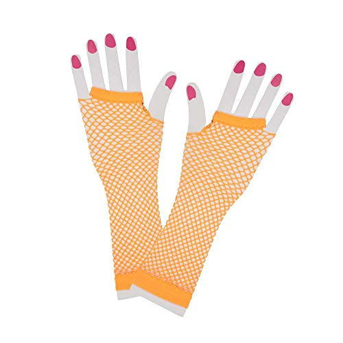 80's Net Gloves - Long - NEON ORANGE