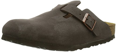 BirkenstockBoston Birko-Flor - Zoccoli Unisex - Adulto, Marrone (Braun (BRUSHED HABANA)), 44 (9.5 UK)