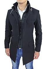 Idea Regalo - Cappotto Uomo Nero Sartoriale Casual Elegante Slim Fit Giaccone Soprabito Invernale con Gilet Interno (L, Nero)