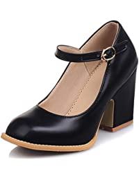 NJX/ Zapatos de mujer - Tacón Robusto - Comfort / Punta Cerrada - Oxfords - Vestido / Casual - Encaje / Semicuero - Negro / Marrón , black-us5.5 / eu36 / uk3.5 / cn35 , black-us5.5 / eu36 / uk3.5 / cn