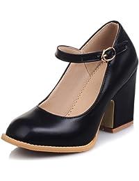 NJX/ Zapatos de mujer - Tacón Robusto - Comfort / Punta Cerrada - Oxfords - Vestido / Casual - Encaje / Semicuero - Negro / Marrón , black-us5.5 / eu36 / uk3.5 / cn35 , black-us5.5 / eu36 / uk3.5 / cn35