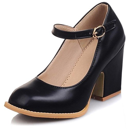 COOLCEPT Mode-Event Damen Mary Janes Pumps Knochelriemchen Schuhe Blockabsatz Schwarz