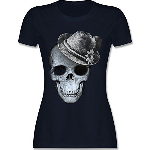 Shirtracer Oktoberfest Damen - Totenkopf mit Filzhut - Damen T-Shirt Rundhals Navy Blau