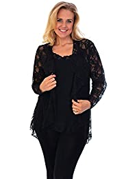 New Womens Lace Cardigan Jumper Floral Button Detail Sleeve Plus Size Nouvelle