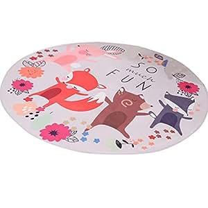 LvRao Nette Karikatur Matten Schlafzimmer Wohnzimmer Runde Teppich Fuchs Durchmesser: 120cm
