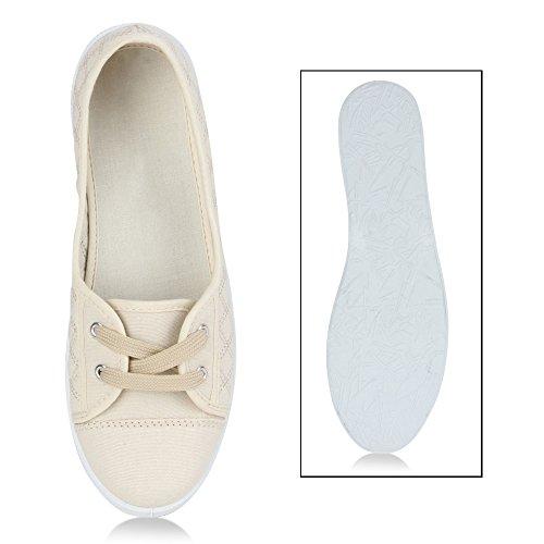 Stiefelparadies Damen Sneakers Muster Bequeme Slipper Lochung Ballerinas Camouflage Denim Schnürer Stoffschuhe Gesteppt Spitze Animal Print Flats Flandell Beige