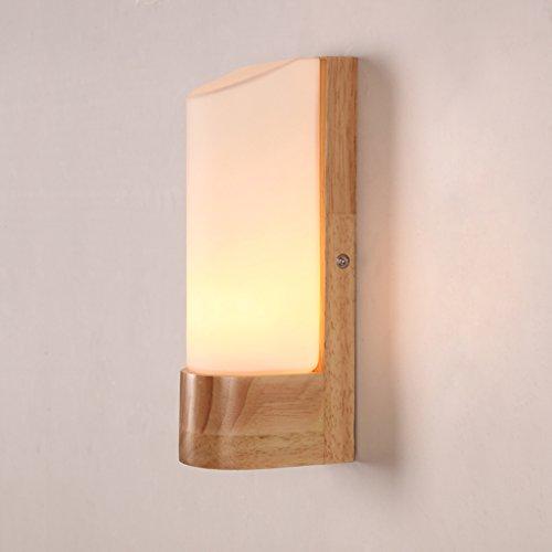 Preisvergleich Produktbild ^ HUWAI @ - Nordic Holzspiegel Frontlicht Kreativ Einfache Einzelkopf Gang Treppe Kleine Wand Lampe Schlafzimmer Nachttisch Lampe Massivholz Wandleuchte