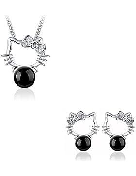 Bettwäsche Schmuck 4-teilig Hello Kitty Perle schwarz silber 925
