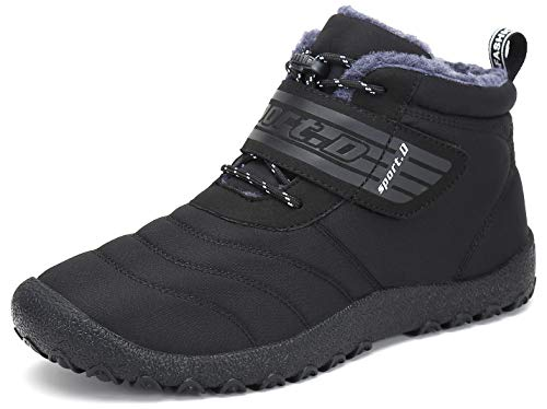 SAGUARO Herren Damen Winterschuhe Warm Gefüttert Stiefel Kurz Winter Boots Schneestiefel Outdoor Freizeit Schuhe,Schwarz 41