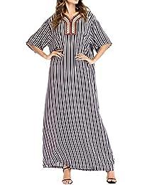 zhbotaolang Vestido Arabe Mujer Musulmanas Kaftan - Traje Largo Dubai Ropa Islámica Ramadán Oriente Medio Algodón