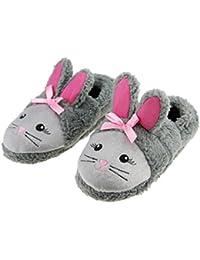 Zapatillas de casa del niño de los zapatos del deslizador caliente en zapatillas lindas zapatillas de interior patrón del conejo de algodón suave suave para el muchacho de la muchacha Tamaño 12-13 - Negro