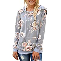 Gorgeya Womens Floral Hoodie Long Sleeve Drawstring Hooded Sweatshirt Pullover Jumper with Pocket
