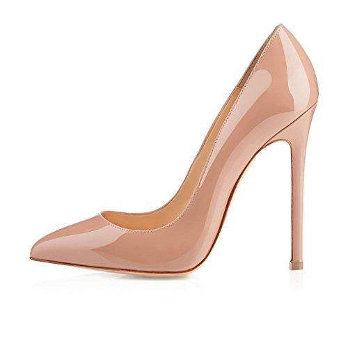 ELASHE - Femmes - Stiletto sexy - Classic - Plusieurs coloris- Cuir brillant synthétique - Talon aiguille 12CM - Bout pointu fermé Beige