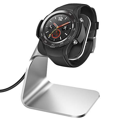 KIMILAR Ladegerät Kompatibel mit Huawei Watch 2 / Watch 2 Pro Ladekabel (Nicht für Huawei Classic), Aluminium USB Ladestation Cradle Dock für Huawei Watch 2/Pro, Porsche Design Smartwatch (Silber) - Dock-cradle