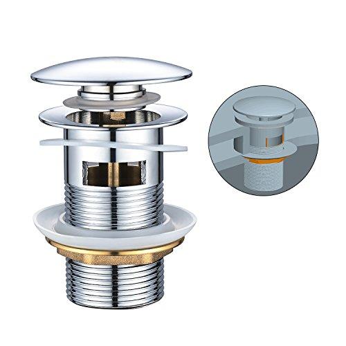 Ablaufgarnitur mit Überlauf, BONADE Universal POP UP Ventil für Waschtisch Waschbecken Spüle Ablauf Chrom