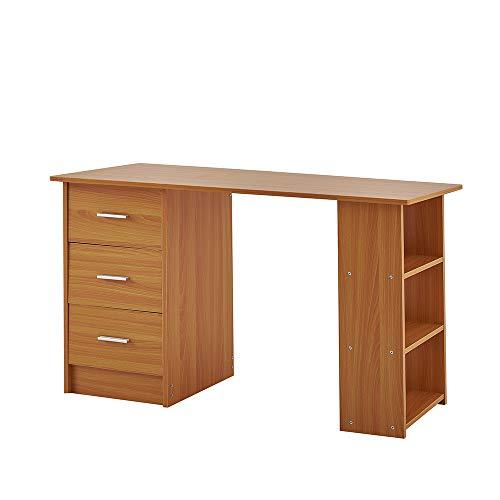 Ruication Computer-Schreibtisch mit 2 Ablagen, 3 Schubladen, Holztisch, großer PC Laptop Gaming Schreibtisch Computer Arbeitsplatz für Home Office Beech -