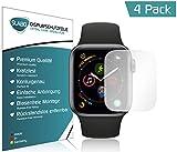Slabo 4 x Displayschutzfolie Apple Watch Series 4 (44mm) Displayschutz Schutzfolie Folie (verkleinerte Folien, aufgrund der Wölbung des Displays) Crystal Clear unsichtbar Made IN Germany