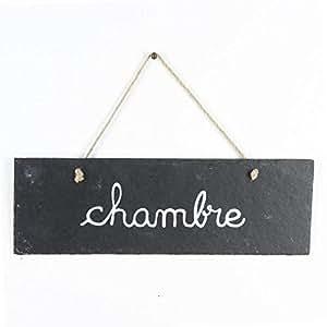 """Paris Prix - Plaque de Porte Ardoise """"Chambre"""" Gris"""