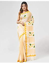 30d620eb58 Slice of Bengal Handloom Pure Cotton Tant Dhaniakhali Saree with Applique  Work