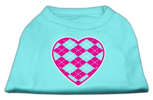 Mirage Pet Products Argyle Herz pink Screen Print-Shirt Aqua XS (8) - Aqua-herz Shirt