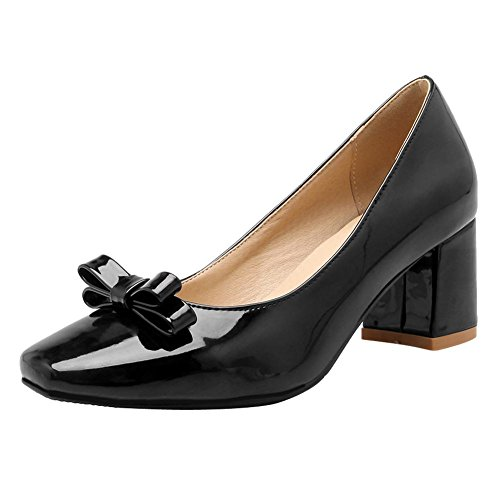 Mee Shoes Damen chunky heels mit Schleife vierkant Pumps Schwarz