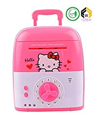 Vijkan Aarushi Money Safe For Kids with Smart Electronic Lock Piggy Bank for Coin/Bills Print & Colour May Very