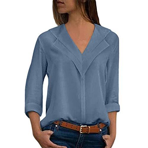 iYmitz Mode Damen Chiffon Solid T-Shirt Büro Plain Roll Ärmel Bluse Top(Himmelblau,EU-40/CN-M)
