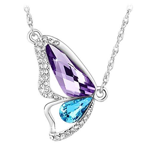 Le premium® collana con ciondolo a farfalla a bozzolo spezzato realizzato con elementi swarovski® tanzanite viola + blu acquamarina