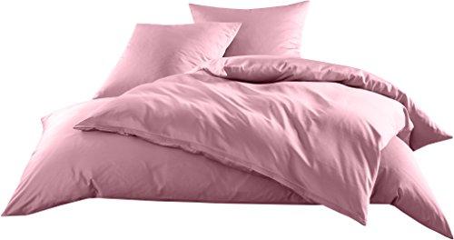 Mako-Satin Baumwollsatin Bettwäsche Uni einfarbig zum Kombinieren (Bettbezug 155 cm x 220 cm, Rosa)