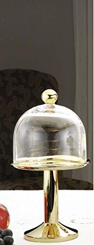 Sweet Home Stand d'or avec cloche dorée de style cardinal - art. 5010244AU - Lon. 16 cm - Lar. 16 cm - Hau. 29 cm - Ø16 cm by Varotto & Co.