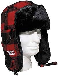 Sombrero de leñador con Piel, rojo/negro - L