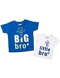 Big Bro Kleiner Bro T-shirt Set Bruder T-Shirt Brüder Baby Kleinkind Kinder blau oder rot verfügbar in den Größen 0-6 Monate bis 14-15 Jahre Neu Baby Schwester Geschenk