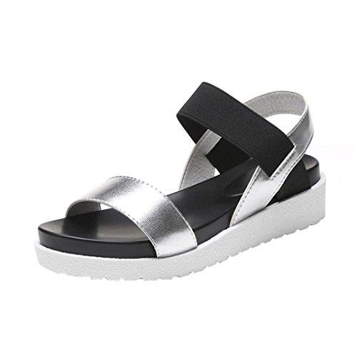 AmazingDays Femme Sandales Chaussures Cheville Mode Vieux Cuir Sandales Plates Chaussures De Dames (39, Silver)