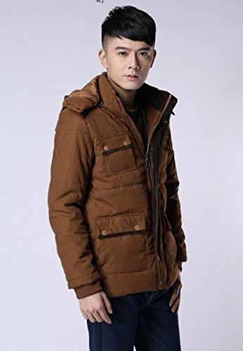 OHmais homme parka manteau d'hiver veste à capuche fourré deep kaki