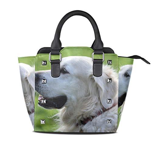 FAJRO Damen Handtasche und Geldbörse mit süßem Hunde-Retriever-Muster -