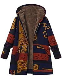 FNKDOR Manteau à Capuche Femmes Grande Taille Hiver Chaud Veste en Coton  Lâche Poches Rétro Fleurs 120b49fb849