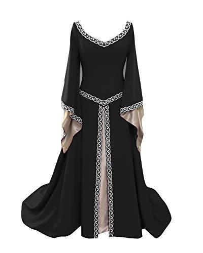 Damen Mittelalter Kleid Halloween Party Kostüm Renaissance Lange Kleider Mittelalterkleid Schwarz M