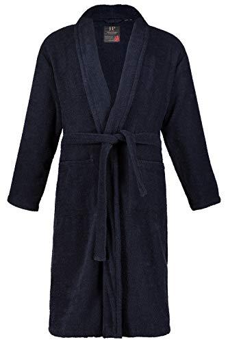 Baumwolle Satin Robe (JP 1880 Herren große Größen bis 7XL, Herren-Bademantel, Morgenmantel, Baumwoll-Frottee, Gürtel & Taschen, Knielang, Schalkragen Navy 4XL 702388 76-4XL)