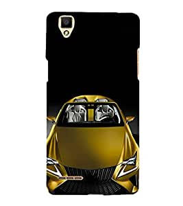 FUSON Yellow Metalic Sports Car 3D Hard Polycarbonate Designer Back Case Cover for Oppo F1