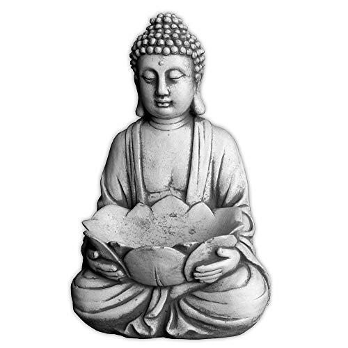 Buda de piedra maciza con cuenco, monje, decoración de jardín, de estancias,...