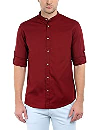 Dennis Lingo Men's Solid Chinese Collar Maroon Casual Shirt