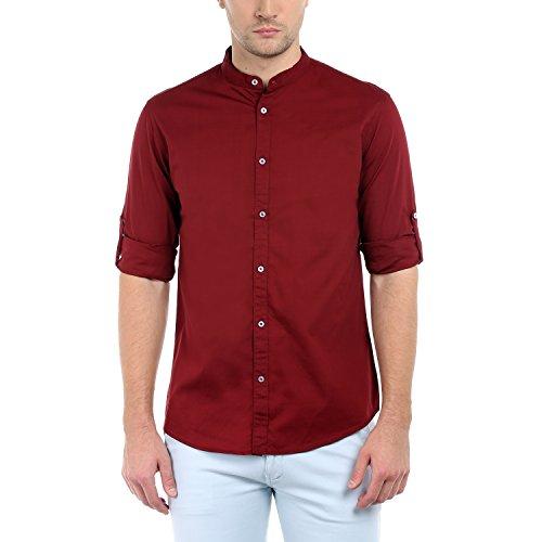 Dennis Lingo Men's Plain Slim Fit Casual Shirt (CC201!_Maroon!_Large)