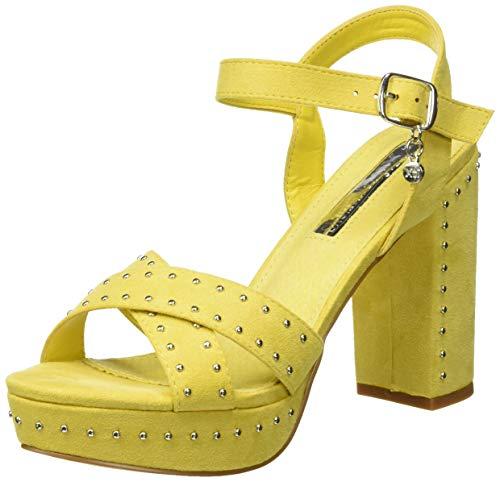 XTI 32056, Zapatos con Tira de Tobillo para Mujer, Amarillo, 39 EU