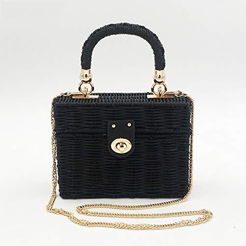 ZYXB Handgewebte Wicker Womens Umhängetaschen Bohemian Female Messenger Bag Rattan Stroh Strandtasche Small Box Handtasche Totes,Black -