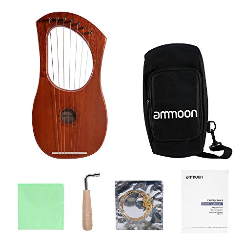 Ammoon lyre harp , 7 corde lira arpa pianoforte filo d'acciaio corde corpo in compensato mogano impiallacciatura mogano strumento a corde topboard con borsa per il trasporto