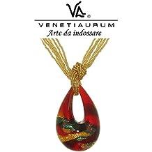 Venetiaurum - Collana donna in vetro di Murano originale di Murano e Argento 925 - Gioiello made in Italy certificato