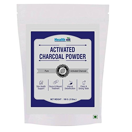 Healthvit Activated Charcoal 100gm For Face Mask, Detoxifies, Helps with Digestion