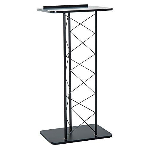 Homcom Rednerpult Stehpult Lesepult Konferenztisch Metall Schwarz 60x40x120cm (Schwarz)