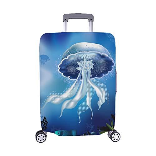 Unterwasserwelt Fisch Qualle Pflanzen Muster Spandex Staubschutz Trolley Protector case Reisegepäck Beschützer Koffer Abdeckung 28,5 X 20,5 Zoll (Pflanze Qualle)
